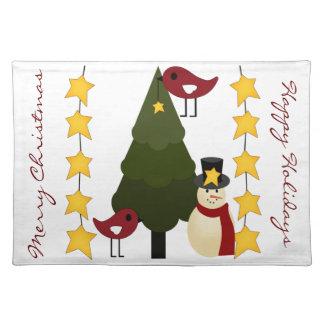Cute Christmas Placemat Tree Snowman Bird Holly