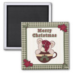 Cute Christmas Plaid Pattern Border & Teddy Bear Square Magnet