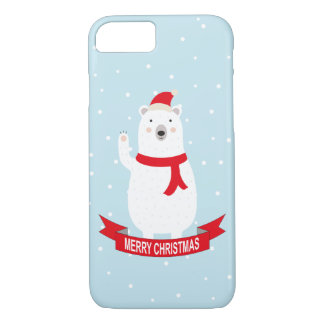 Cute Christmas Polar Bear says Hello iPhone 8/7 Case