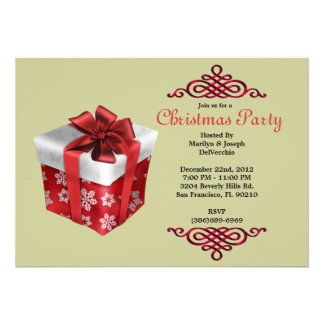 CUTE Christmas Present With Red Border Invite