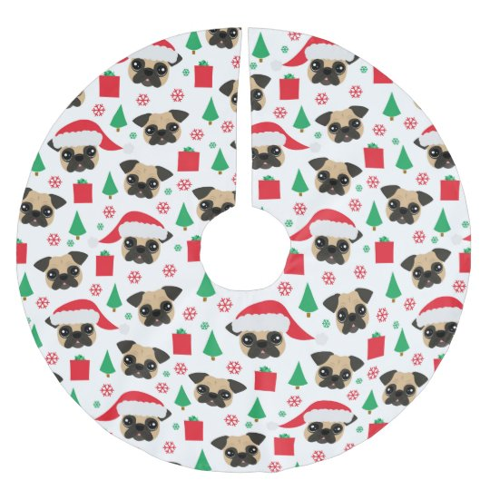 Cute Christmas Pug Brushed Polyester Tree Skirt