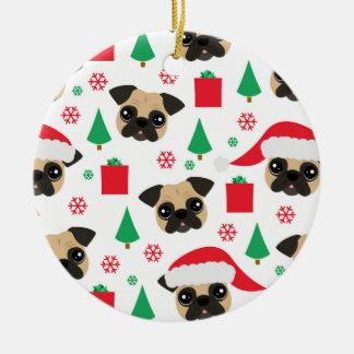 Cute Christmas Pug Custom Text Ornament