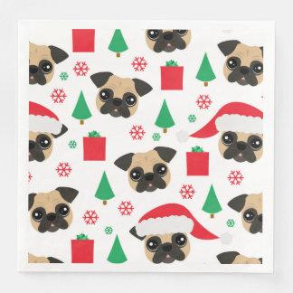Cute Christmas Pug Disposable Napkins