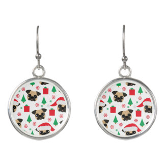 Cute Christmas Pug Earrings
