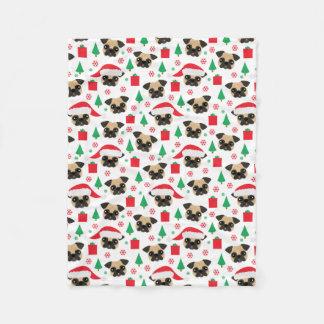 Cute Christmas Pug Fleece Blanket