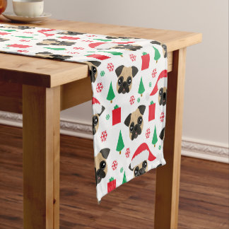 Cute Christmas Pug Holiday Table Runner