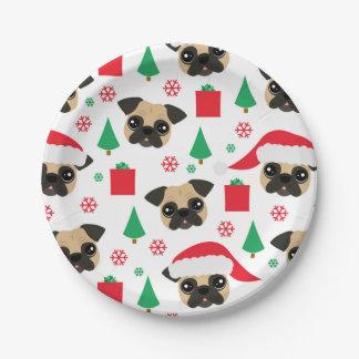 Cute Christmas Pug Paper Plates