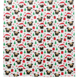 Cute Christmas Pug Shower Curtain