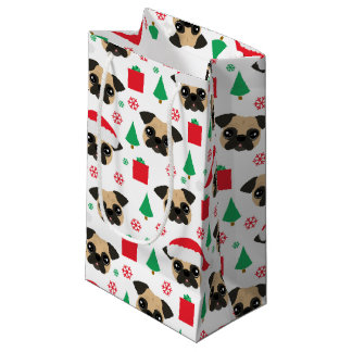 Cute Christmas Pug Small Gift Bag