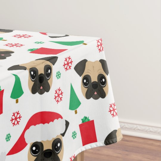 Cute Christmas Pug Tablecloth