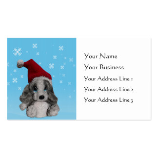 Cute Christmas Puppy In Santa Hat Bookmarks or Business Card Templates