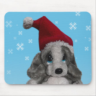 Cute Christmas Puppy In Santa Hat Mouse Pads