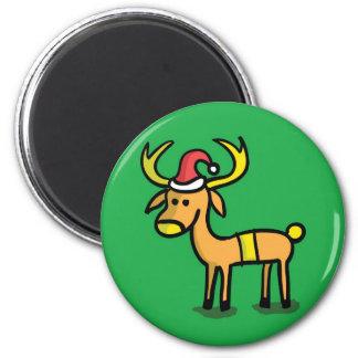 Cute Christmas Reindeer Cartoon Magnet
