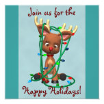 Cute Christmas Reindeer Holiday Invitations 13 Cm X 13 Cm Square Invitation Card