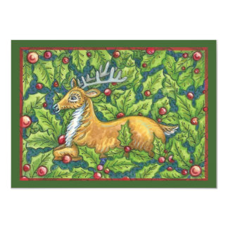 Cute Christmas Reindeer in Forest with Holly 11 Cm X 16 Cm Invitation Card