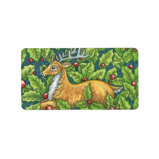 Cute Christmas Reindeer in Forest with Holly Address Label