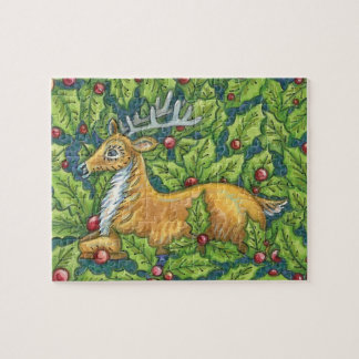 Cute Christmas Reindeer in Forest with Holly Jigsaw Puzzle