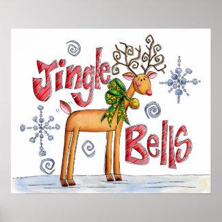 Cute Christmas Reindeer, Jingle Bells Snowflakes Poster