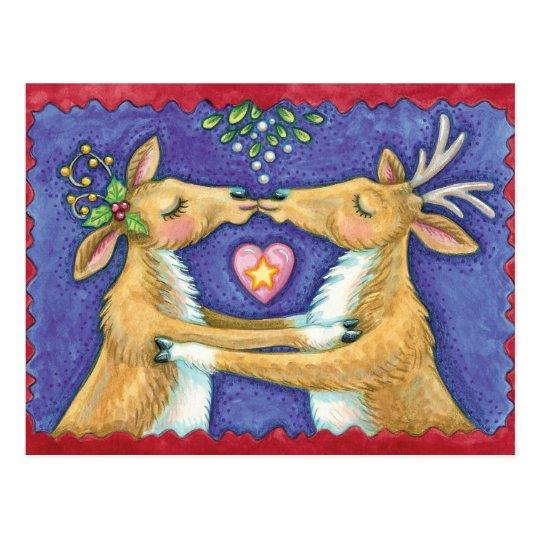 Cute Christmas Reindeer Kiss Save the Date Postcard