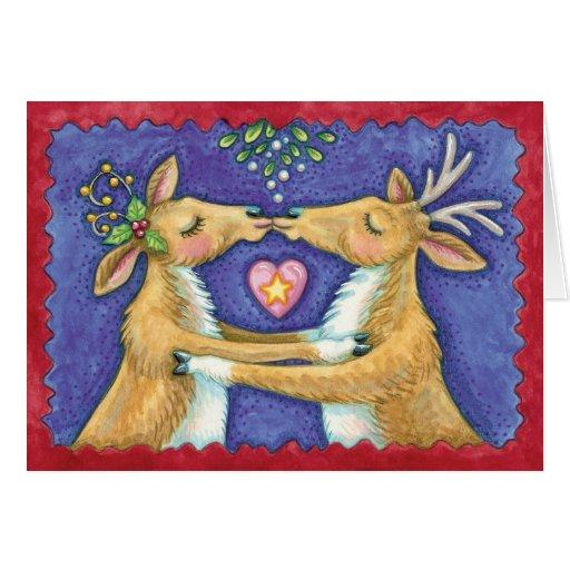 Cute Christmas Reindeer Kissing Under Mistletoe Card