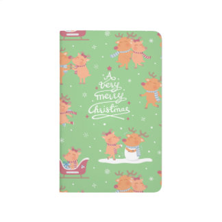 Cute Christmas Reindeer Pattern Sweetheart Journal