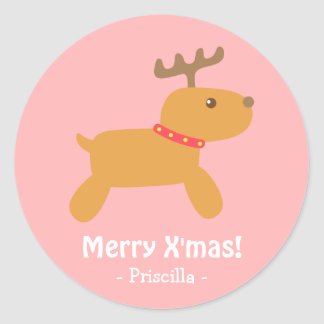 Cute Christmas Reindeer Round Stickers