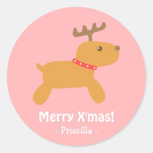 Cute Christmas Reindeer Round Stickers