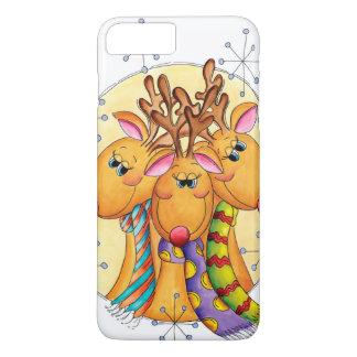 Cute Christmas Reindeer Wearing Scarves with Stars iPhone 8 Plus/7 Plus Case