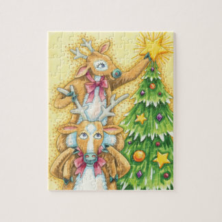 Cute Christmas Reindeer With Christmas Tree Star Jigsaw Puzzle