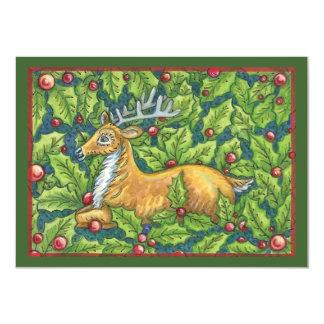 Cute Christmas Reindeer with Holly 11 Cm X 16 Cm Invitation Card