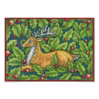 Cute Christmas Reindeer with Holly Poster