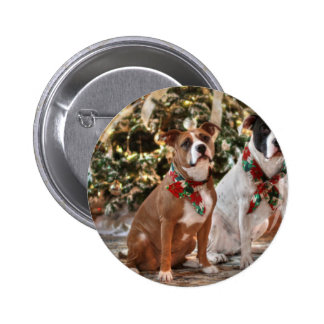 Cute Christmas Rescue Pitbull and America Bull Dog 6 Cm Round Badge
