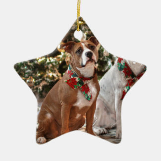 Cute Christmas Rescue Pitbull and America Bull Dog Christmas Ornament