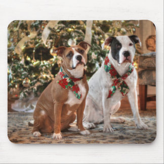 Cute Christmas Rescue Pitbull and America Bull Dog Mouse Pad