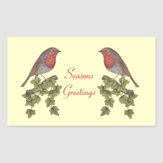 Cute Christmas Robin and ivy leaves illustration Rectangular Sticker