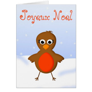 Cute Christmas Robin Redbreast in French Language Greeting Card
