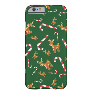 Cute Christmas Rudolph Candy Cane Pattern Green Barely There iPhone 6 Case