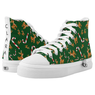 Cute Christmas Rudolph Candy Cane Pattern Green High Tops