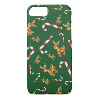 Cute Christmas Rudolph Candy Cane Pattern Green iPhone 8/7 Case