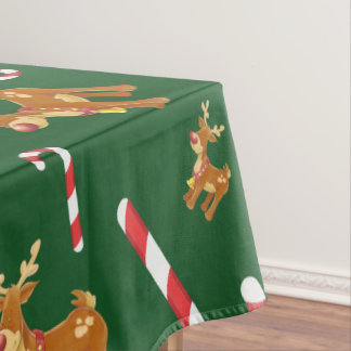 Cute Christmas Rudolph Candy Cane Pattern Green Tablecloth