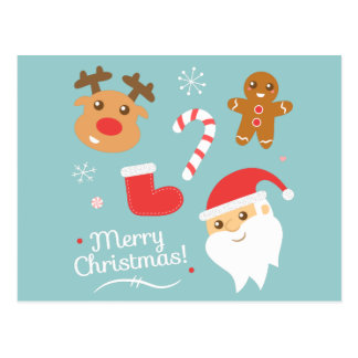 Cute Christmas - Santa, Reindeer, Gingerbread Man Postcard