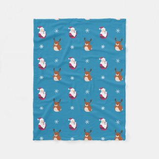 Cute Christmas Santa & Rudolph Fleece Blanket