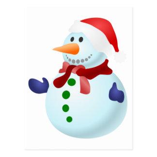 Cute Christmas Santa Snowman Postcard