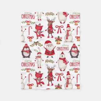 Cute Christmas Santas, Penguins, and Polar Bears Fleece Blanket