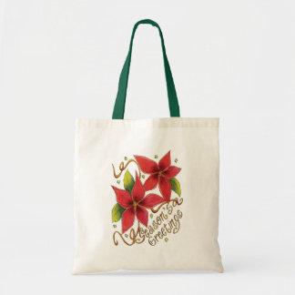 Cute Christmas Season's Greetings with Poinsettias Budget Tote Bag