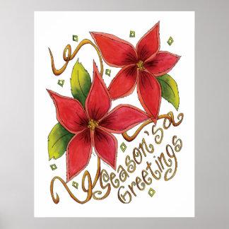 Cute Christmas Season's Greetings with Poinsettias Poster