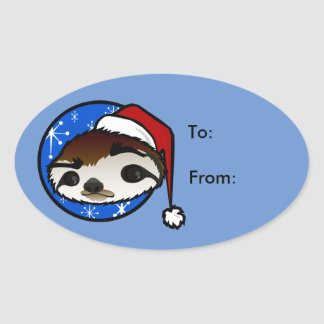 CUTE CHRISTMAS SLOTH OVAL GIFT TAG STICKERS