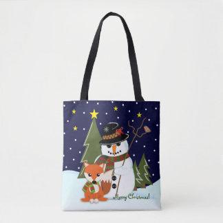 Cute Christmas Snowman and Fox and Custom text Tote Bag