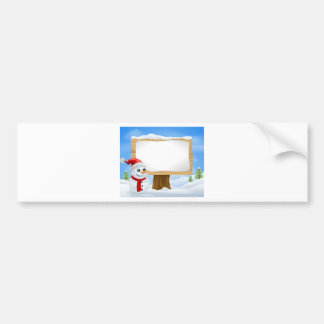 Cute Christmas Snowman and Sign Bumper Stickers