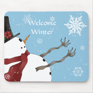 Cute Christmas snowman and snowflakes Mouse Mat